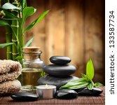 zen basalt stones and spa oil... | Shutterstock . vector #133587734
