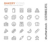 collection of bakery line icons.... | Shutterstock .eps vector #1335881351