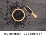 lot of whole black lentils... | Shutterstock . vector #1335884987