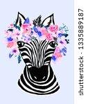 cute hand drawn zebra with... | Shutterstock . vector #1335889187