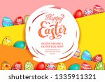 easter eggs on a bright yellow... | Shutterstock .eps vector #1335911321