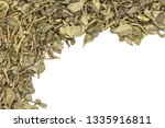 lot of pieces of dry green tea... | Shutterstock . vector #1335916811