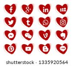 Hearts doodles icons. Red. Collection of popular social media icons on a white background Facebook, Instagram, Linkedin, Pinterest, Twitter, Line. 16 pieces