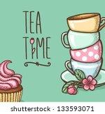tea time card. vector... | Shutterstock .eps vector #133593071