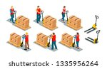 men and women workers wearing... | Shutterstock .eps vector #1335956264