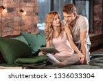 couple in pajamas. cute loving...   Shutterstock . vector #1336033304