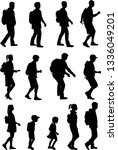 silhouette people on a walk.   Shutterstock .eps vector #1336049201