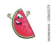 a happy watermelon character... | Shutterstock . vector #133612175