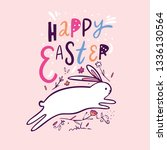 happy easter lettering and cute ... | Shutterstock .eps vector #1336130564
