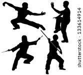 kung fu fighter silhouette on... | Shutterstock .eps vector #133614914