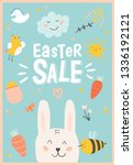 happy easter poster in vector.... | Shutterstock .eps vector #1336192121