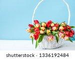 Spring Flowers Basket. Bouquet...