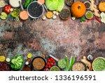 healthy food. assortment of... | Shutterstock . vector #1336196591