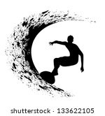 surfer silhouette on a white background - stock photo