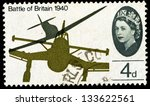 Small photo of UNITED KINGDOM - CIRCA 1965: A used postage stamp printed in Britain celebrating the 25th Anniversary of the Battle of Britain showing a Spitfire attacking a Junkers Stuka Dive Bomber, circa 1965