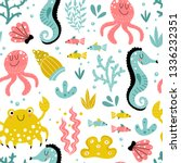 a seamless pattern with cute... | Shutterstock .eps vector #1336232351