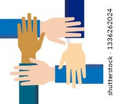 team hands together or joining... | Shutterstock .eps vector #1336262024