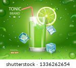 lime juice poster with ice... | Shutterstock .eps vector #1336262654