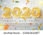 2020 happy new year. gold... | Shutterstock .eps vector #1336262687