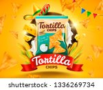 tortilla chips ads with flying... | Shutterstock .eps vector #1336269734