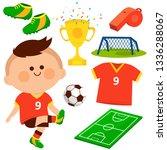 child football player. vector... | Shutterstock .eps vector #1336288067