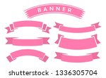 set of pink ribbon banner icon... | Shutterstock .eps vector #1336305704