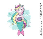 a cute funny cat unicorn with a ...   Shutterstock .eps vector #1336316777