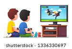 two boys kids sitting at tv... | Shutterstock .eps vector #1336330697