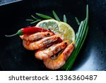 grilled prawns with chili... | Shutterstock . vector #1336360487