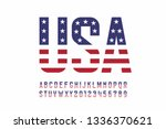 usa national flag style font ... | Shutterstock .eps vector #1336370621