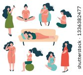 pregnant woman lifestyle set ... | Shutterstock .eps vector #1336382477
