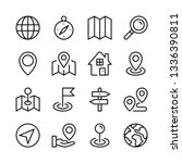 route and navigation line icons ... | Shutterstock .eps vector #1336390811