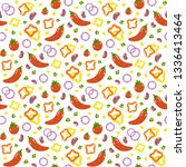 pattern with chili peppers ... | Shutterstock .eps vector #1336413464