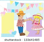 boy and girl dancing country.... | Shutterstock . vector #133641485