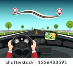 road map with destination pins. ... | Shutterstock .eps vector #1336433591