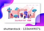 zoo entrance with giraffe ... | Shutterstock .eps vector #1336449071