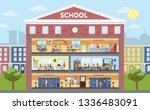 school building interior and...   Shutterstock . vector #1336483091
