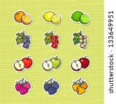 multicolor set of fruits and... | Shutterstock .eps vector #133649951