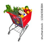 shopping cart with food fruits... | Shutterstock . vector #1336508384