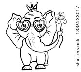 elephant in the crown and with... | Shutterstock .eps vector #1336533017