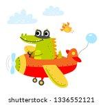 crocodile flies on a plane | Shutterstock .eps vector #1336552121