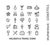 outlined holidays and travels... | Shutterstock .eps vector #133657511