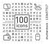 100 outlined icons of holidays...