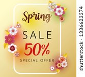 spring banner sale. with leaf... | Shutterstock .eps vector #1336623374