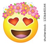 a yellow smiley emoji face icon ... | Shutterstock .eps vector #1336640144