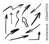 hand drawn arrows set. vector... | Shutterstock .eps vector #1336647014