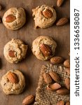 almond cookies with almond on... | Shutterstock . vector #1336658087