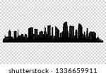silhouette of city with black... | Shutterstock . vector #1336659911