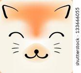 cute cartoon cat face  vector...   Shutterstock .eps vector #133666055