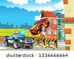 cartoon off road car chase with ... | Shutterstock . vector #1336666664